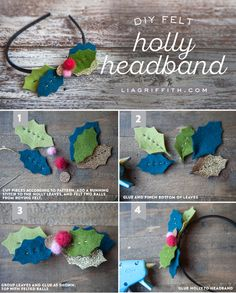 DIY Felt Holly Headband Tutorial from MichaelsMakers Lia Griffith