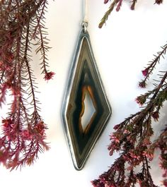 RESERVED - The Other Side - Polyhedroid Agate Sterling Silver Rune Necklace