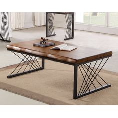 The Benzara Impressive Rectangular Coffee Table is the perfect combination of rustic and mod. The acacia wood tabletop boasts realistic woodgrain detail. Welded Furniture, Iron Furniture, Steel Furniture, Home Decor Furniture, Table Furniture, Furniture Design, Tea Table Design, Wood Table Design, Esstisch Design