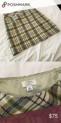 Plaid Ann Taylor wool skirt. Size 6P Perfect for fall!!! Plaid AT loft wool skirt, size 6p. Pair with tights and boots or booties and you are all set. Fully lined, fits true to size. In excellent condition. Ann taylor loft Skirts A-Line or Full
