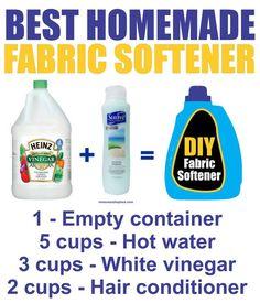DIY recipe for fabric softener: hot water, white vinegar, hair conditioner