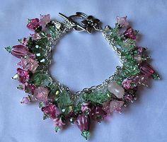 Lampwork Bracelet Charm Style SRAJD  418  Ode to a Rose III  69.99