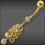 Jeweled Dangling 14K Gold Belly Ring Piercing Jewelry $242.72 Belly Rings, Belly Button Rings, Cool Piercings, Body Jewelry, Dangles, Jewels, Gold, Shopping, Beauty