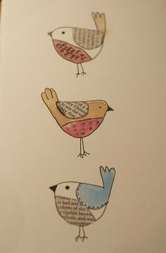 Putting the finishing touches on my Book Birds - little hand drawn and coloured birds featuring book print, in this case, A Christmas Carol. I'm planning to make them into Christmas cards. Bird Doodle, Doodle Art, Bird Drawings, Cute Drawings, Altered Books Pages, Old Book Crafts, Newspaper Art, Book Page Art, Bird Quilt