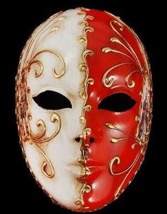 Volto Bi-Color Venetian Masquerade Mask - Red