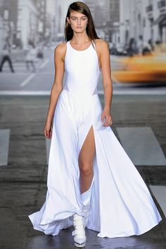 """Finale of long jersey dresses with athletic mesh inserts."" DKNY Spring 2013 RTW"