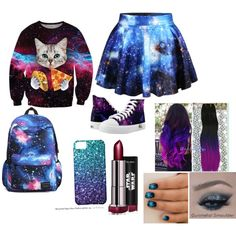 Galaxy Girl by puppykittybunnyluv on Polyvore featuring Chicnova Fashion