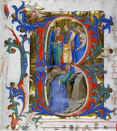 """B"". Abraham praying lower, 3 angels upper. Italy Florence c.1396-1402. Add. 74233B. BL by tony harrison, via Flickr"