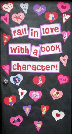 Fall in love with a book character! Bulletin board for Valentine's day with hearts!