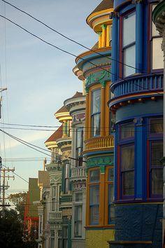 Haight & Ashbury District, San Francisco, California. The Painted Ladies