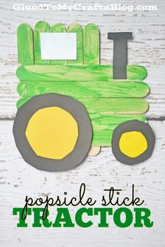 Stick Tractor How cute is this popsicle stick tractor kid's craft!How cute is this popsicle stick tractor kid's craft!