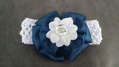 Bluegreen Headband Flower Headband by GloriaMillerCreation on Etsy, $7.00
