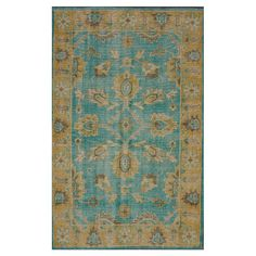 Hand-knotted wool rug in turquoise with an overdyed design.  Product: RugConstruction Material: 100% Wool