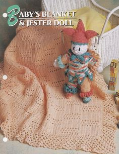 Baby's Blanket and Jester Doll, Annie's Crochet Quilt & Afghan Pattern Club QAC318-04