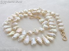 Cleopatra White Metallic Super Lustre Stick Keshi Freshwater Pearl Necklace and Earring Set
