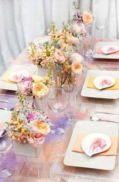 Tablescape Inspiration #peach #purple #wedding #table #decor