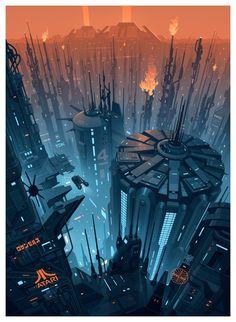 ArtStation - Blade R ArtStation - Blade Runner Cityscape Brian Taylor Cyberpunk City, Cyberpunk Kunst, Futuristic City, Futuristic Architecture, Future City, Sci Fi Stadt, Science Fiction Kunst, Arte Sci Fi, Sci Fi City