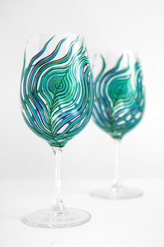 MaryElizabethArts - Peacock Feather Wine Glasses