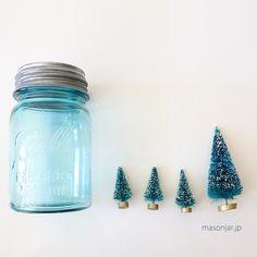 ■商品:アンティーク メイソンジャー テーブル用 クリスマスツリー セットBall Mason jar ビンテージ Pint(パイント) Zinc蓋つき ブルー