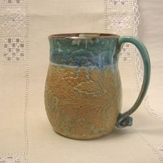 Stoneware Pottery Soup Mug  24 oz  Turquoise Rim by PorcelainJazz on Etsy.