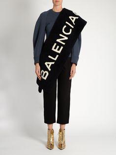 Shearling logo-intarsia scarf | Balenciaga | MATCHESFASHION.COM US