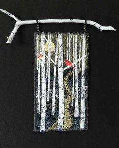 Sweet duet.  small art quilt by Eileen Willliams