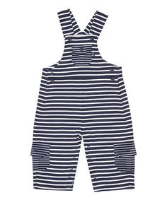 Look at this JoJo Maman Bébé Navy Stripe Jersey Overalls - Infant on #zulily today!
