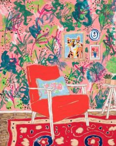 """Saatchi Art Artist Lara Meintjes; Painting, """"Red Chair - Portrait of a Red Mid-Century Chair In Pink Jungle Print Interior with Persian Rug"""" #art"""