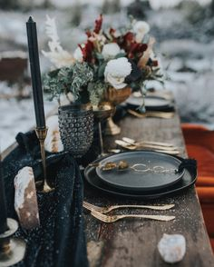 Craters of the Moon Idaho Elopement; Emily Aitken Events table setting, tablescape, place setting, moody, centerpiece, wedding style, boho, wedding details, mountain wedding, desert wedding, Idaho, Idaho wedding, craters of the moon, gemstones, eclipse, moon