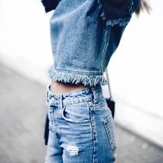 Street style, casual outfit, summer chic, distressed denim on distressed denim