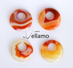 Round donut shaped red onyx banded agate by byvellamosupplies, $9.50