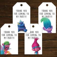Perfect thank you tags for gift bags. Can be personalized and sent or be printed at home! #tamaramastudios #trolls #trollparty #trollsbirthday #trollsthankyou