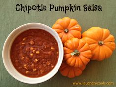 Chipotle Pumpkin Salsa. I am smitten with this Smoky salsa with a touch of sweetness, a hint of pumpkin, and a nice kick of spice. The batch makes enough to fill two big mason jars -- one for you and one to give away (or freeze for later)!