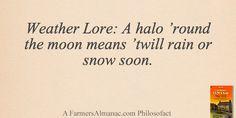 Weather Lore: A halo 'round the moon means 'twill rain or snow soon. - A Farmers' Almanac Philosofact