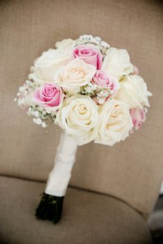 Bridal bouquet of white garden roses and pink garden roses, babies breath, hand tied wedding bouquet, photo by Tamra Turner Photography