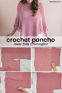 Crochet this fringed poncho from just 2 rectangles! Easy free beginner crochet pattern and video tutorial