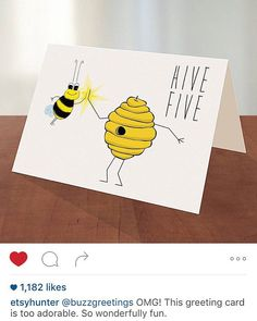 140 best buzz greetings greeting cards images on pinterest hive five bee card by buzzgreetings on etsy m4hsunfo