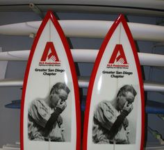 Southern California artist Inez Coffman, who has lived with ALS since 2004, designed these foam surfboards with Lou Gehrig's image. Image courtesy of The ALS Association Greater San Diego Chapter
