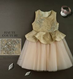 The Jacquard Ruffle Dress-Made To Order High Quality Dynamic Gold & Ivory Floral Vine Applique Jacquard Ruffle Gown This luxury dress is made of jacquard fabric, 100% cotton lining & high quality tulle Available from 3 -14  years old Please do compare your  little girl measurements with our size chart below before deciding her size or you can select the Custom Size option and we will make the dress according to your specific size.