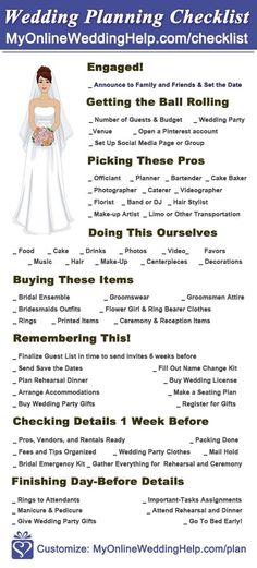 Free Printable wedding planning checklist. It's a