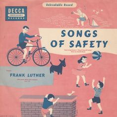 "Songs of Safety — vintage kids' album cover —  Frank Luther Decca C.U. 113 (1) 12"" 78RPM record in bi-fold sleeve"