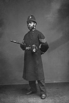 Victorian Slang!  A actor dressed as an English policeman, circa 1880.
