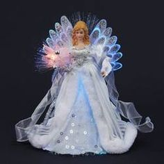 WHITE/SILVER LED FIBER OPTIC ANGEL TREE TOPPER