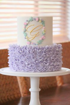 I don& get to use many shades of purple when cake decorating, for some reason it is not a colour that is often requested. Gorgeous Cakes, Pretty Cakes, Cute Cakes, Religious Cakes, Ruffle Cake, Fondant Ruffles, Carousel Cake, Girly Cakes, Monogram Cake