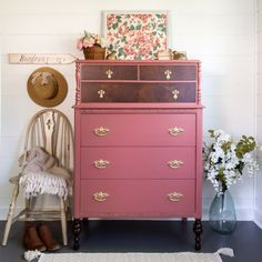 Vintage Pink Dresser - Victorian Chest of Drawers Shabby Chic Furniture Pink Chest of Drawers Farmhouse Modern Pink Dresser Entryway Accent Pink Chest Of Drawers, Pink Chests, Pink Dresser, Ikea Dresser, Shabby Chic Furniture, Vintage Furniture, Furniture Decor, Painted Furniture, Furniture Makeover