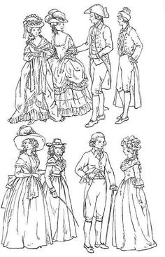 Clothing of 18th Century England 1700-1800. Overview with