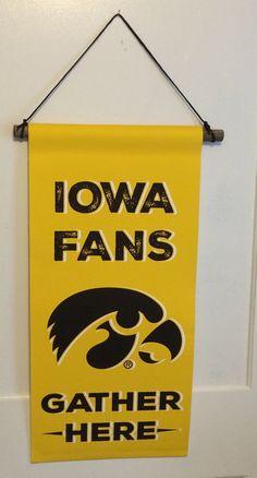 Iowa Fans Gather Here Canvas Banner, Garden Flag, Man Cave Decor, Christmas Gift, Father's Day, Iowa Hawkeye Wrestling, Basketball