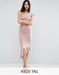 Vestido a media pierna con sobrefalda y diseño asimétrico en neopreno de ASOS TALL