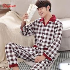 75d4a66d28 Yuzhenli Autumn Pyjamas Men Print Casual Plus Size Cotton Sleepwear Mens  Lounge Wear Loungewear Winter Pajamas Plus XXXL