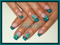 Light turquoise flower nail art on a dark turquoise french tip ♥